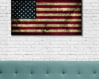 Vintage American Flag Wall Art american flag canvas | etsy