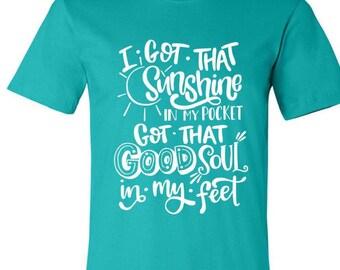 ADULT Sunshine in my pocket shirt, trolls shirt, i got that sunshine in my pocket shirt, i got sunshine in my pocket, WHITE design