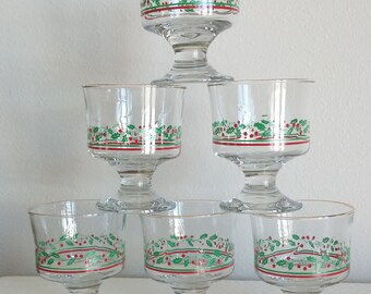 Vintage Holly and Berry 1970's Collectible Barware Dessert Holiday Glasses, Vintage Christmas Dessert Glasses, Vintage Christmas, Barware