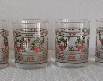 Set of 4 Vintage Christmas Glasses, Vintage Christmas Rock Glasses, Vintage Christmas Dishes, Vintage Christmas, Christmas Barware