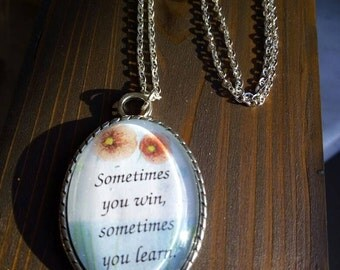 Necklace with sentence. Cabochon pendant