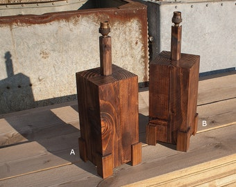 Gatepost Table Lamp - Rustic Wood Table Lamp - Available Singly Or As A Pair