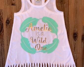 Wild One Fringe Dress, Feathers, Boho Party, Tribal, First Birthday, Party Dress, Wild One Year Old, Personalized Birtbday Dress
