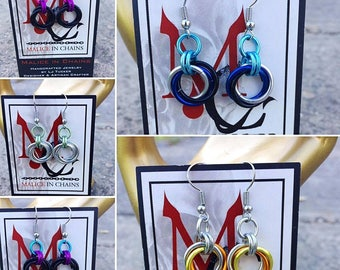 Moebius Infinity Knot Earrings Chainmail Chainmaille Handcrafted Malice in Chains