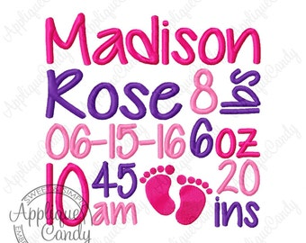 Subway Art Birth Announcement Machine Embroidery Custom Digitized Design 4x4 5x5 6x6 7x7 8x8 baby boy girl foot prints feet EMAIL DELIVERY