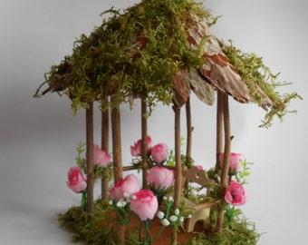 Fairy Garden Miniature,Doll House ,ROSE Flower and Moss Wood Twig Gazebo,Fairy Garden House, Fairy Cottage, Fairy House, Fairy Furniture