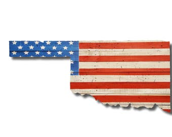Oklahoma State American Flag Sign, Reclaimed Wood, Handmade