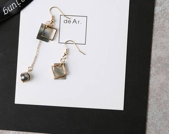 Gold Plated Asymmetric Polished Natural Mother Of Pearl Square Minimalist Elegant Drop Earrings
