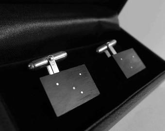 Bog Oak Cuff Links with Sterling Silver