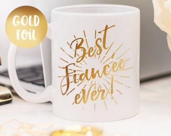 Fiancée mug, gold foil mug customized gift for your fiancée