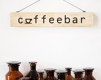 Upcycling wooden shield: coffeebar (black)