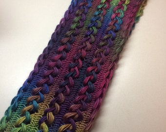 Multi Color Hairpin Lace Scarf / Cowl