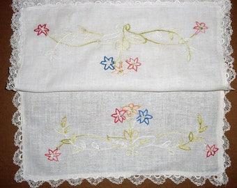 Runner F)  Vintage Table Runner, Dresser Runner, Buffet Runner.  Embroidered Floral Design.