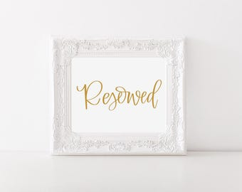 Wedding Sign Printable, Wedding Sign, Table Sign, Reserved Table, Digital Print, Printable Signs, Wedding Table Signage, Wedding Guest