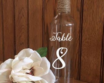 Wine Bottle Table Numbers/Wedding Centerpieces/Reception Decor/Table Numbers/Wine Bottle Table Numbers/Rustic Wine Bottle Table Numbers