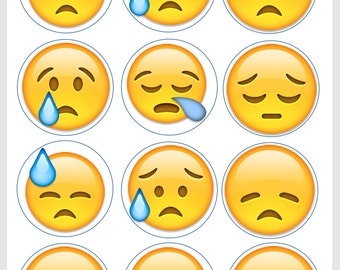 Crying and Sad Emoji Edible Image/Cupcake/Cookie Topper