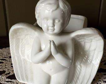 Vintage Angel Planter, Vintage Cherub Planter, White Ceramic Planter