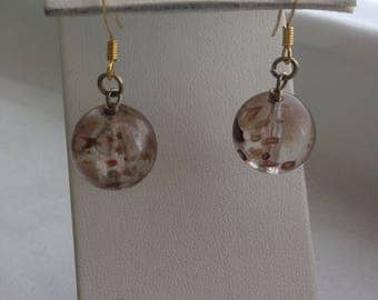 Clear and brown splatter earrings