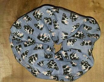 Cow scrunchie, blue scrunchie, hair tie, Cow pattern, scrunchie
