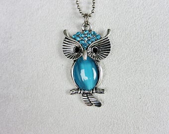 Owl, Necklace, Pendant, Jewel, Blue, Wisdom, Mysticism, Spirituality
