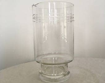 Mid Century Etched Glass Drink Pitcher