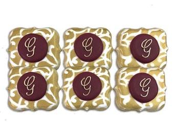 Custom Monogram Cookies / Wedding Cookies / Bridal Cookies - 3 Dozen with Gold