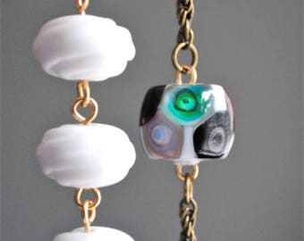 Multi beads, asymmetrical, Murano necklace.