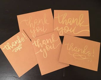 "Gold embossed blank ""thank you"" cards"