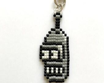 Robot Keychain, Seed Bead, Pixel, 8 bit, Pixel Jewelry, 8 bit Jewelry, Bead Weaving, Keychain, Pixel Art, Gamer, Nerd, TV, Robot, Handmade