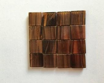 Golden Vein Glass Tiles 2cm x 2cm x 4mm Brown