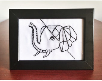 Geometric Elephant completed in frame