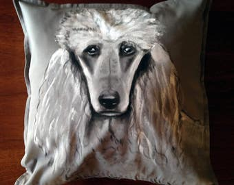 Poodle - hand painted cushion cover grey