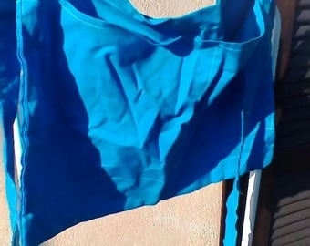 Blue cotton  fabric half apron