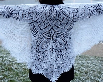 100% Mohair Knitted Shawl, Haute couture, Handmade Shawl, Wedding Shawl, Russian Shawl, Triangular Shawl, Lace Shawl