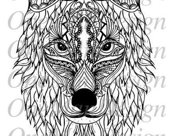 High detailed abstract Wolf head SVG - Tattoo idea - Wolf Tattoo - Tattoo vector - Wolf Tattoo vector SVG