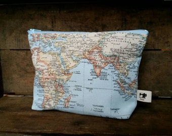 "Map print make up bag, pencil case, purse, cosmetic bag. Size 8"" zip."