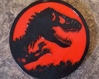 Jurassic Park Inspired Tyrannosaurus Rex Dinosaur Sign / Plaque - Dual Red / Black Color