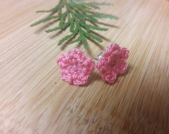 Crochet pink flower stud earrings, crochet flower jewelry