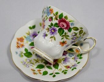 Vintage Royal Albert Devon bone china teacup and saucer. Random Harvest series . Lyric style with flowers