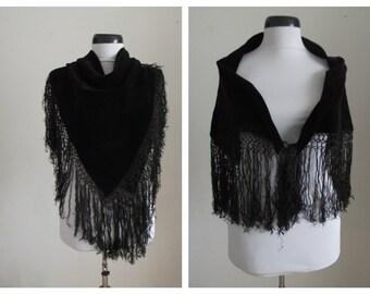 Vintage Velvet Shawl/ Tassels Black Velvet Shawl