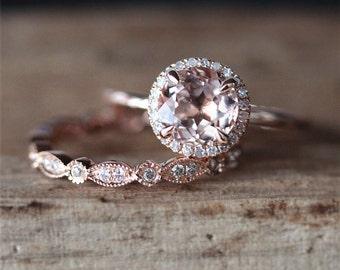 VS 7mm Round Cut Morganite Ring Art Deco Full Eternity Diamond Wedding Ring Set 14K Rose Gold Morganite Engagement Ring Set Bridal Sets