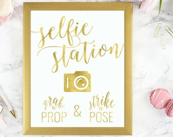 Gold Selfie Station Sign Grab a Prop Strike a Pose | Printable Instant Download Wedding Reception Sign Gold Foil Calligraphy | WS1