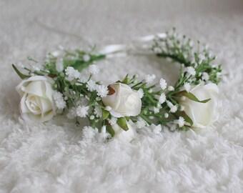 Gypsophila Rose Bridal/Bridesmaid/Wedding Flower Crown