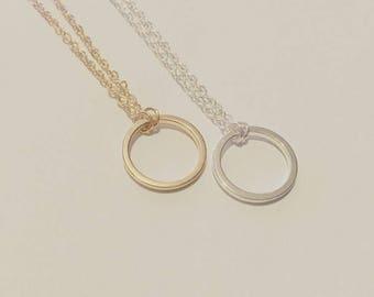 Gold Filled Karma Circle Choker Necklace
