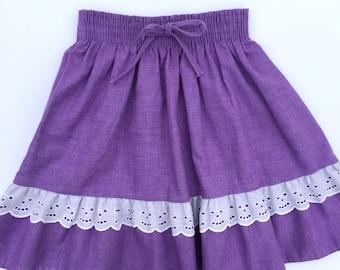 Vintage Toddler Girls Purple w/ White Eyelet Skirt Size 4t