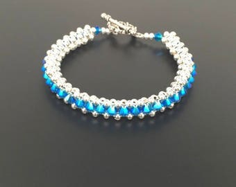 Cobalt blue Swarovski Crystal and Sterling Silver Bracelet