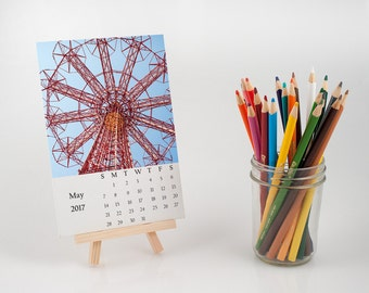 Unique NYC desk calendar, unusual NYC photography calendar with easel, photo print, fine art, New York City lover photography gift