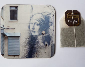 "Bristol Coaster - Banksy ""Girl with the Pierced Eardrum"" Street Art"