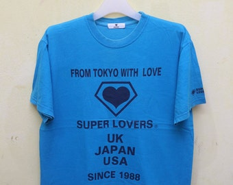 Vintage From Tokyo With Love SUPER LOVERS Uk Japan Usa Since 1988 Blue Tee T Shirt