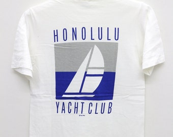 Vintage HONOLULU YACHT CLUB Crazy Shirts White Tee T Shirt Size S
